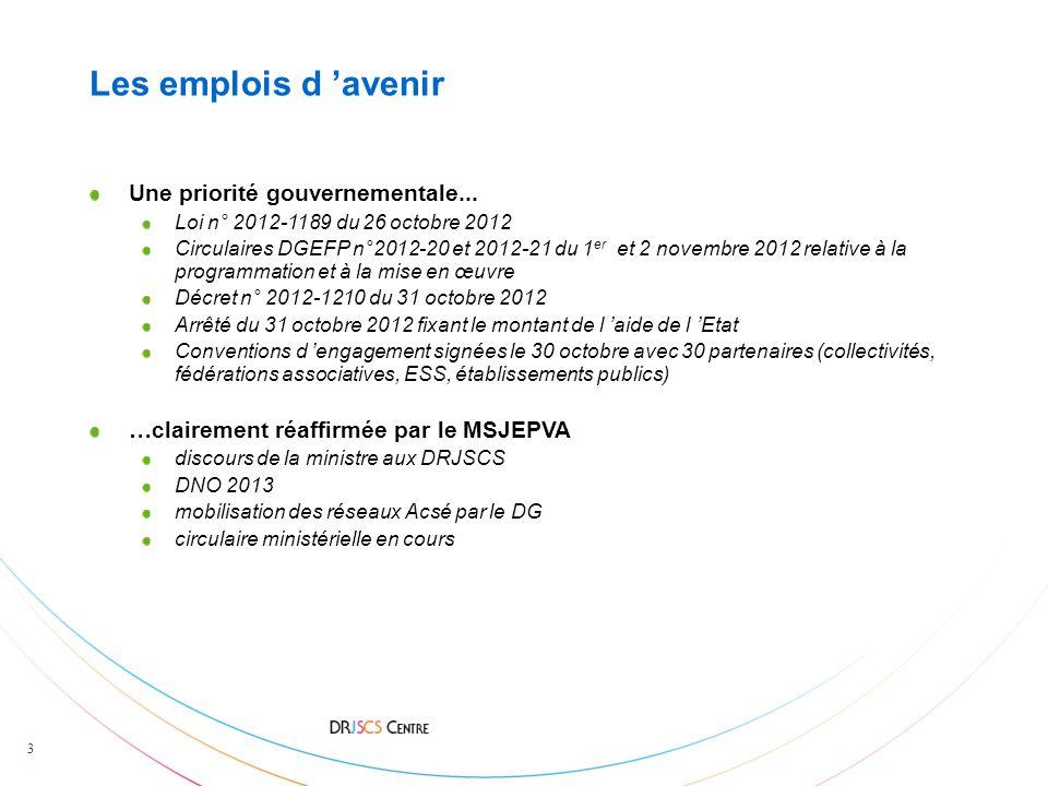 3 Les emplois d 'avenir Une priorité gouvernementale...