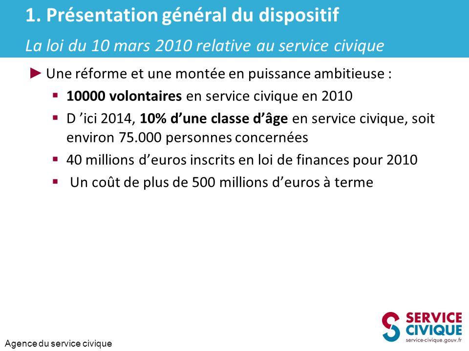 Agence du service civique ► Une réforme et une montée en puissance ambitieuse :  10000 volontaires en service civique en 2010  D 'ici 2014, 10% d'un