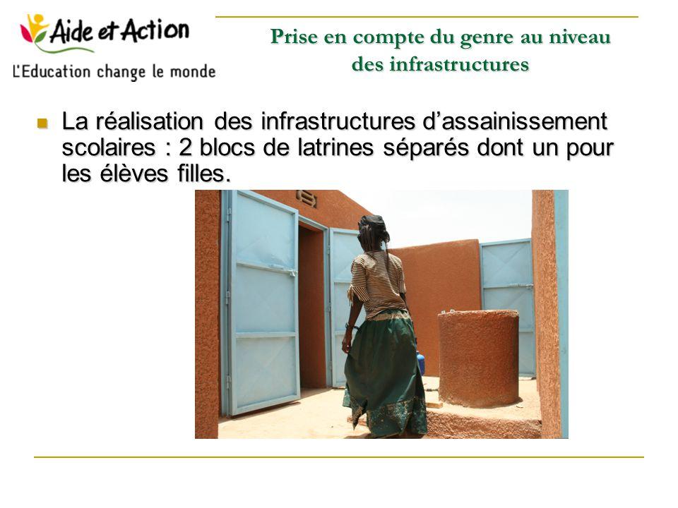 La réalisation des infrastructures d'assainissement scolaires : 2 blocs de latrines séparés dont un pour les élèves filles.