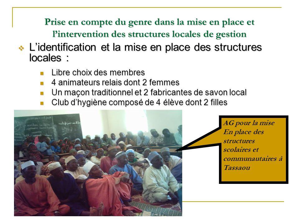Prise en compte du genre dans la mise en place et l'intervention des structures locales de gestion  L'identification et la mise en place des structur