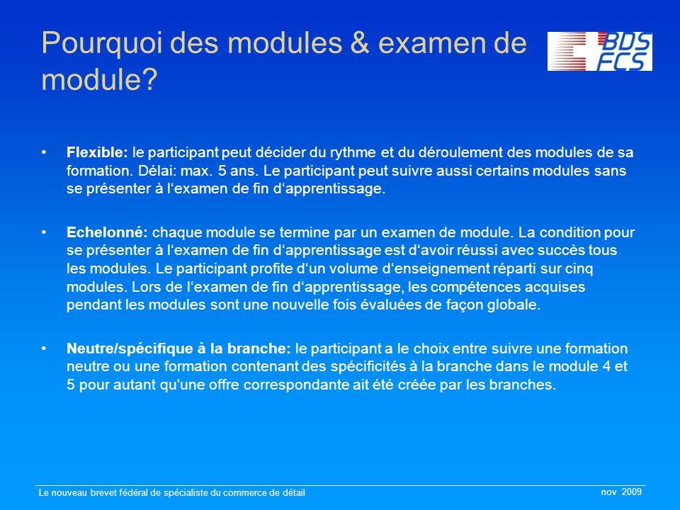 nov 2009 Le nouveau brevet fédéral de spécialiste du commerce de détail Pourquoi des modules & examen de module? Flexible: le participant peut décider