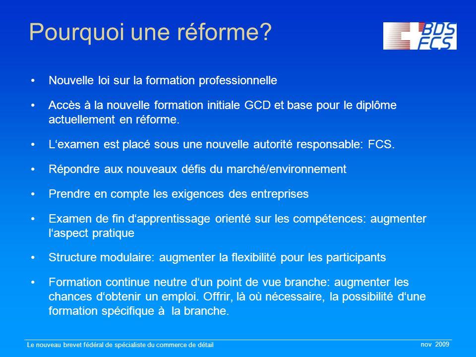 nov 2009 Le nouveau brevet fédéral de spécialiste du commerce de détail Pourquoi une réforme? Nouvelle loi sur la formation professionnelle Accès à la