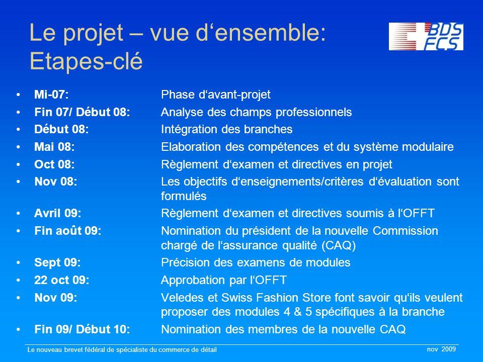 nov 2009 Le nouveau brevet fédéral de spécialiste du commerce de détail Le projet – vue d'ensemble: Etapes-clé Mi-07: Phase d'avant-projet Fin 07/ Déb