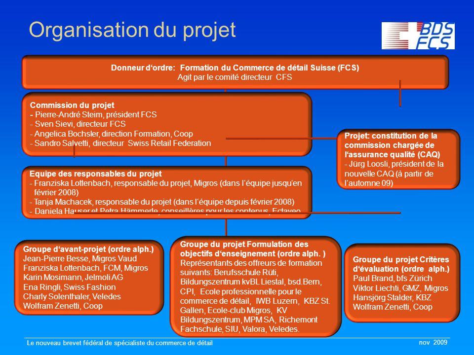 nov 2009 Le nouveau brevet fédéral de spécialiste du commerce de détail Organisation du projet Commission du projet - Pierre-André Steim, président FC