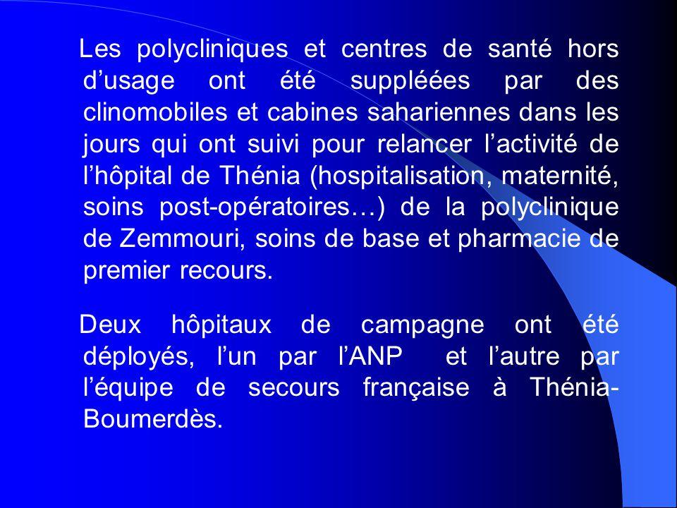 L'ANP a réhabilité le centre d'hémodialyse de l'hôpital de Thénia et les blocs opératoires endommagés des hôpitaux de Thénia et de Dellys dans des cabines préfabriquées.