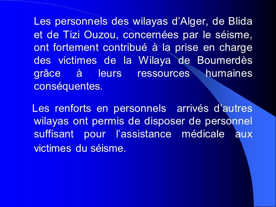 La solidarité nationale et internationale a rapidement apporté en complément des personnels de formation diverse compétents dans les problèmes de santé liés aux catastrophes.