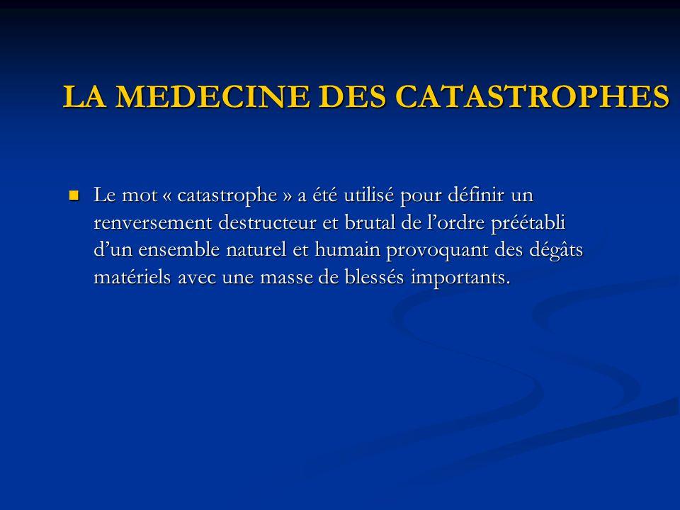 LA MEDECINE DES CATASTROPHES Le mot « catastrophe » a été utilisé pour définir un renversement destructeur et brutal de l'ordre préétabli d'un ensembl