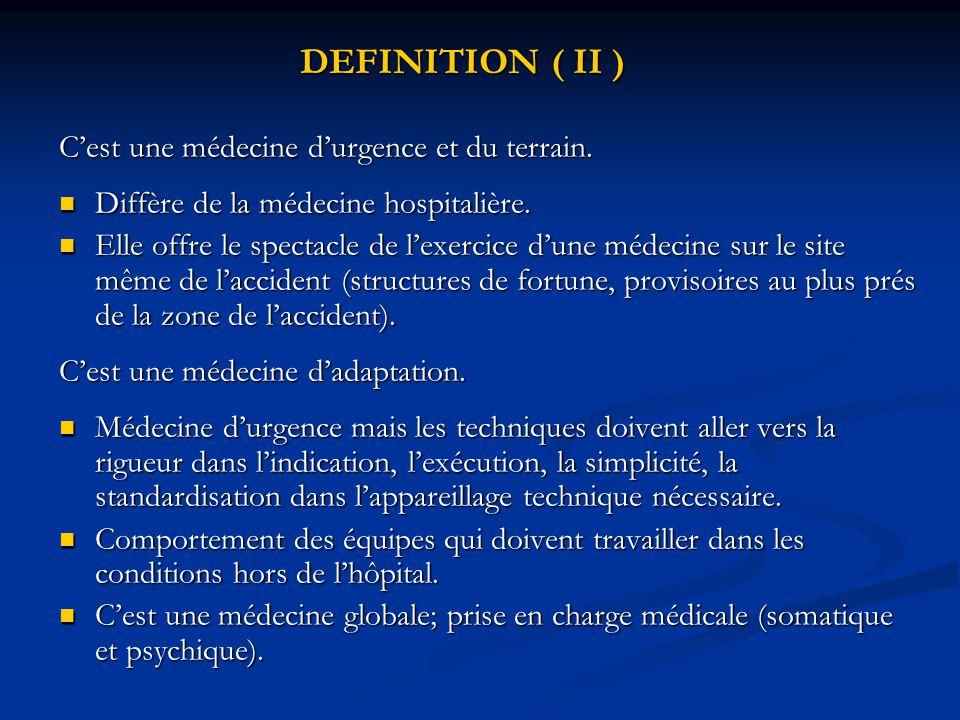 DEFINITION ( II ) C'est une médecine d'urgence et du terrain. Diffère de la médecine hospitalière. Diffère de la médecine hospitalière. Elle offre le