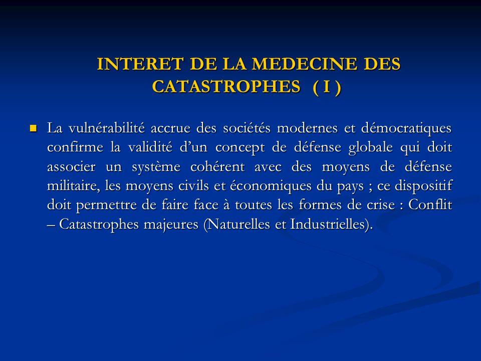 INTERET DE LA MEDECINE DES CATASTROPHES ( I ) INTERET DE LA MEDECINE DES CATASTROPHES ( I ) La vulnérabilité accrue des sociétés modernes et démocrati