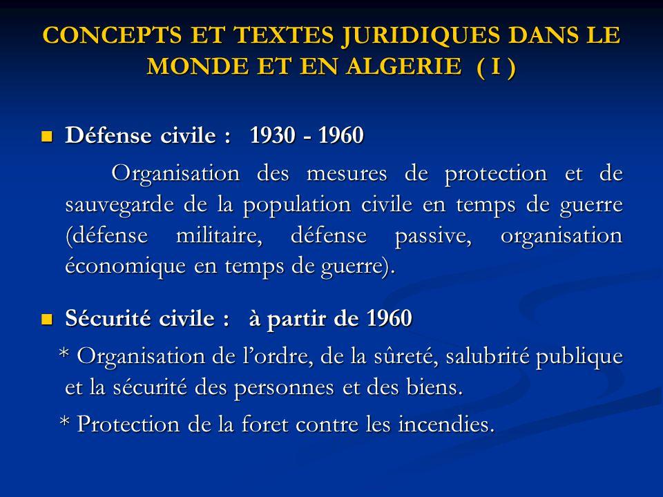 CONCEPTS ET TEXTES JURIDIQUES DANS LE MONDE ET EN ALGERIE ( I ) Défense civile : 1930 - 1960 Défense civile : 1930 - 1960 Organisation des mesures de