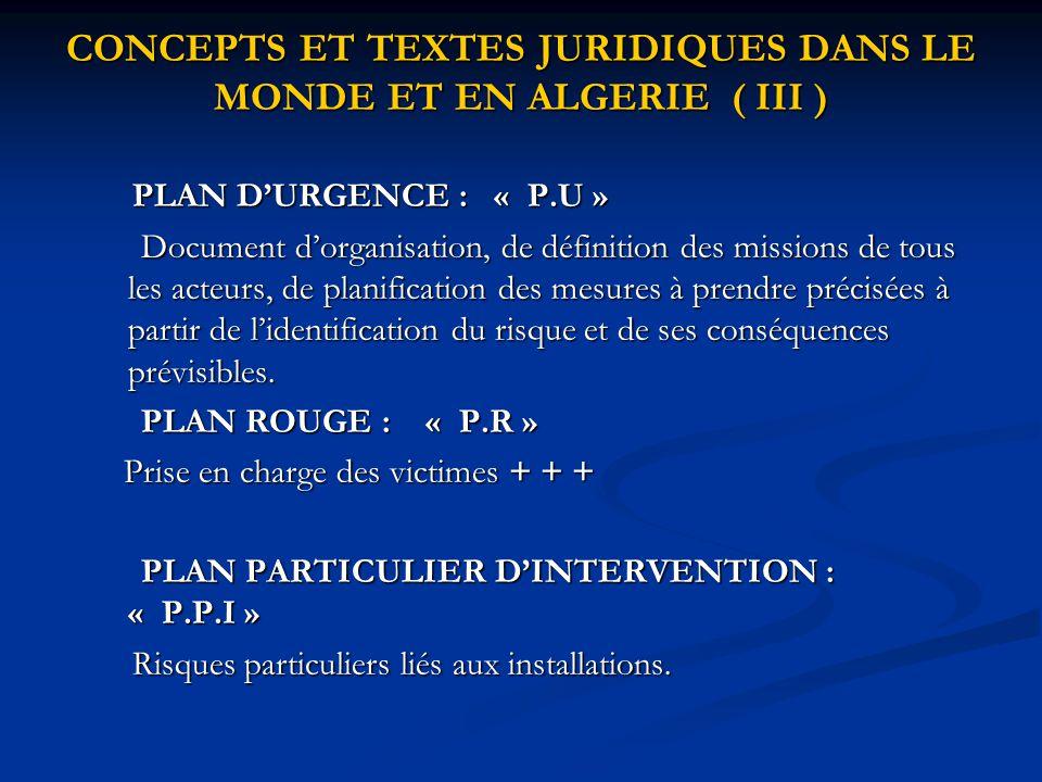 CONCEPTS ET TEXTES JURIDIQUES DANS LE MONDE ET EN ALGERIE ( III ) PLAN D'URGENCE : « P.U » PLAN D'URGENCE : « P.U » Document d'organisation, de défini