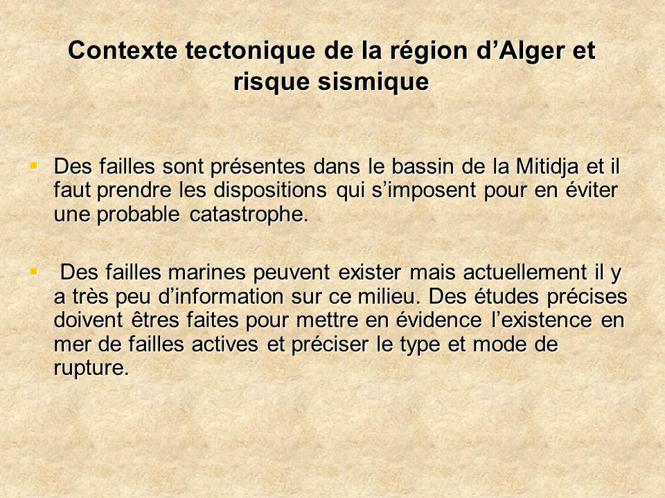 Contexte tectonique de la région d'Alger et risque sismique  Des failles sont présentes dans le bassin de la Mitidja et il faut prendre les dispositi