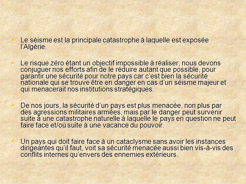  Le séisme est la principale catastrophe à laquelle est exposée l'Algérie.  Le risque zéro étant un objectif impossible à réaliser, nous devons conj