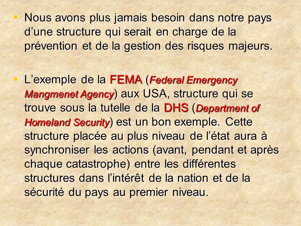  Nous avons plus jamais besoin dans notre pays d'une structure qui serait en charge de la prévention et de la gestion des risques majeurs.  L'exempl