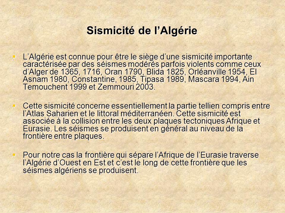 Sismicité de l'Algérie  L'Algérie est connue pour être le siège d'une sismicité importante caractérisée par des séismes modérés parfois violents comm