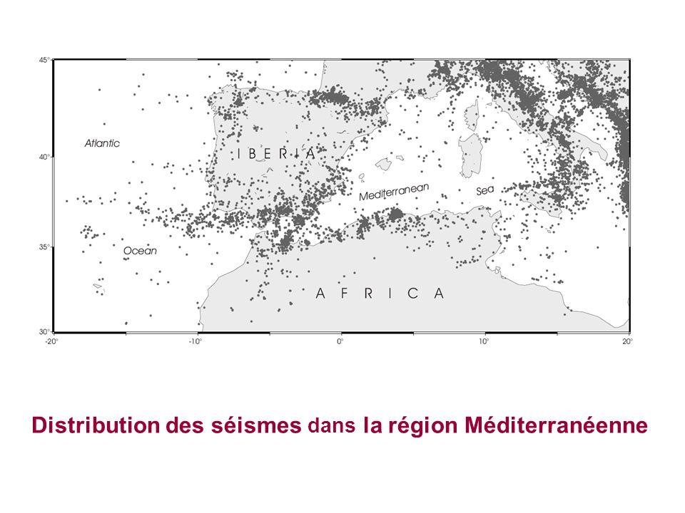 Distribution des séismes dans la région Méditerranéenne
