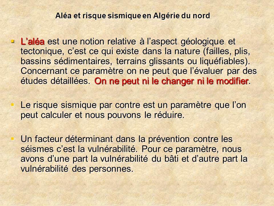 Aléa et risque sismique en Algérie du nord  L'aléa est une notion relative à l'aspect géologique et tectonique, c'est ce qui existe dans la nature (f