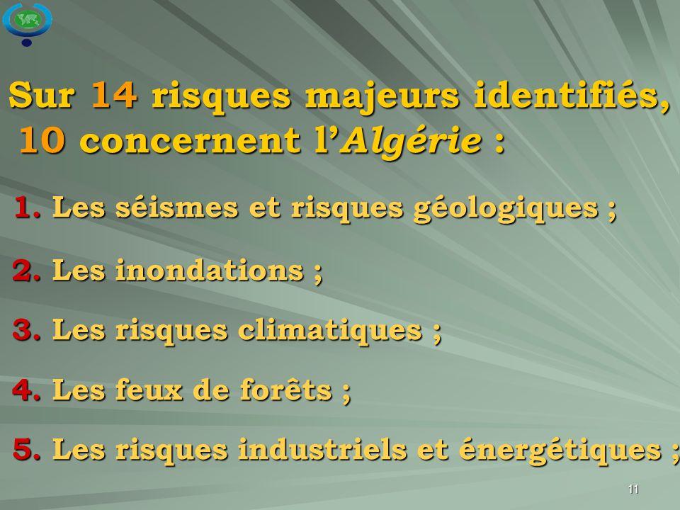 11 Sur 14 risques majeurs identifiés, 10 concernent l' Algérie : Sur 14 risques majeurs identifiés, 10 concernent l' Algérie : 1. Les séismes et risqu