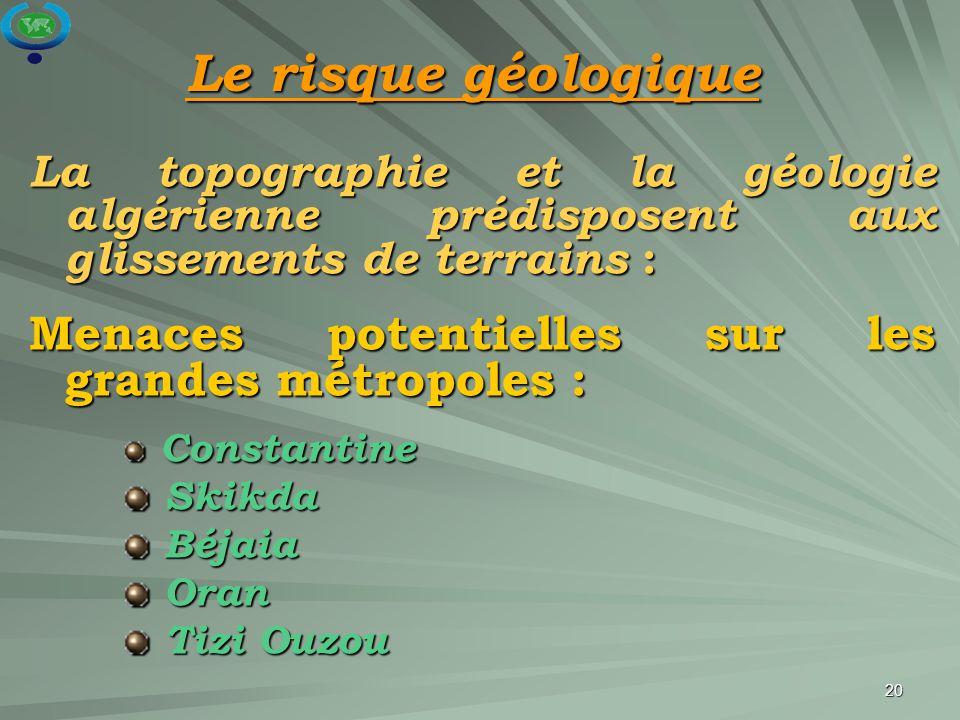 20 La topographie et la géologie algérienne prédisposent aux glissements de terrains : Menaces potentielles sur les grandes métropoles : Constantine C
