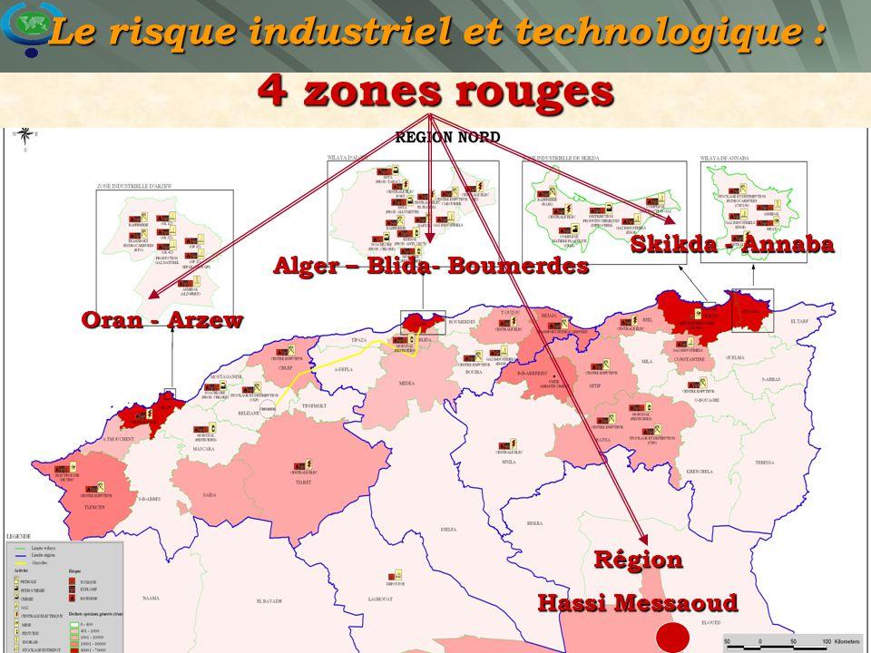 22 Carte de risques des établissements industriels Région Nord / Zone vulnérable Le risque industriel et technologique : 4 zones rouges Oran - Arzew A