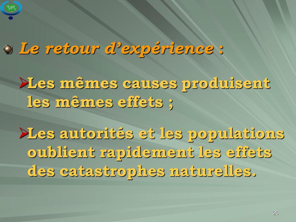 26 Le retour d'expérience : Le retour d'expérience :  Les mêmes causes produisent les mêmes effets ;  Les autorités et les populations oublient rapi