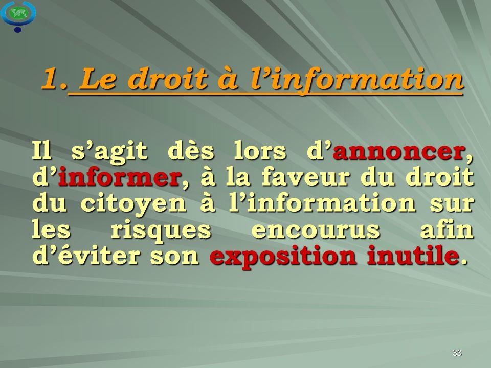 33 1. Le droit à l'information 1. Le droit à l'information Il s'agit dès lors d'annoncer, d'informer, à la faveur du droit du citoyen à l'information