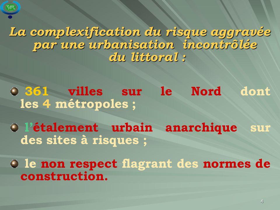 4 361 villes sur le Nord dont les 4 métropoles ; l'étalement urbain anarchique sur des sites à risques ; le non respect flagrant des normes de constru