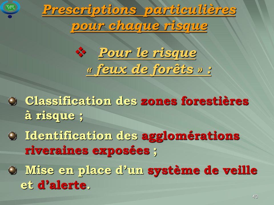 43  Pour le risque « feux de forêts » : Classification des zones forestières à risque ; Classification des zones forestières à risque ; Identificatio