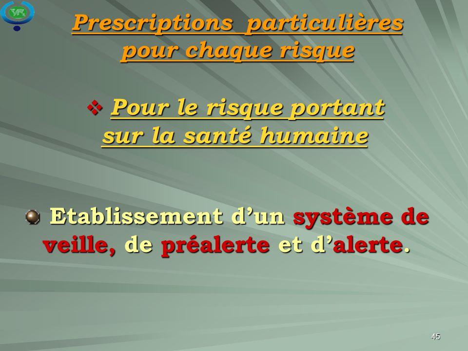 45  Pour le risque portant sur la santé humaine Etablissement d'un système de veille, de préalerte et d'alerte. Etablissement d'un système de veille,