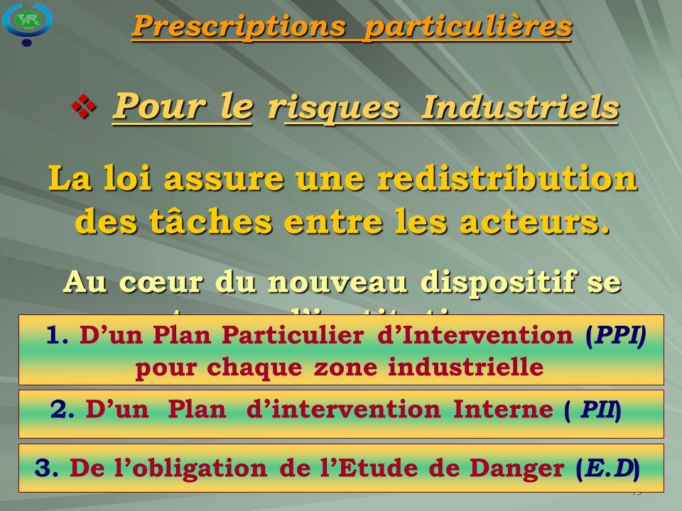 49  Pour le r isques Industriels La loi assure une redistribution des tâches entre les acteurs. Au cœur du nouveau dispositif se trouve l'institution