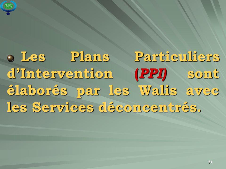 51 Les Plans Particuliers d'Intervention ( PPI) sont élaborés par les Walis avec les Services déconcentrés. Les Plans Particuliers d'Intervention ( PP