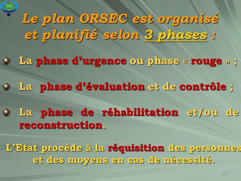 57 Le plan ORSEC est organisé et planifié selon 3 phases : La phase d'urgence ou phase « rouge » ; La phase d'évaluation et de contrôle ; La phase de