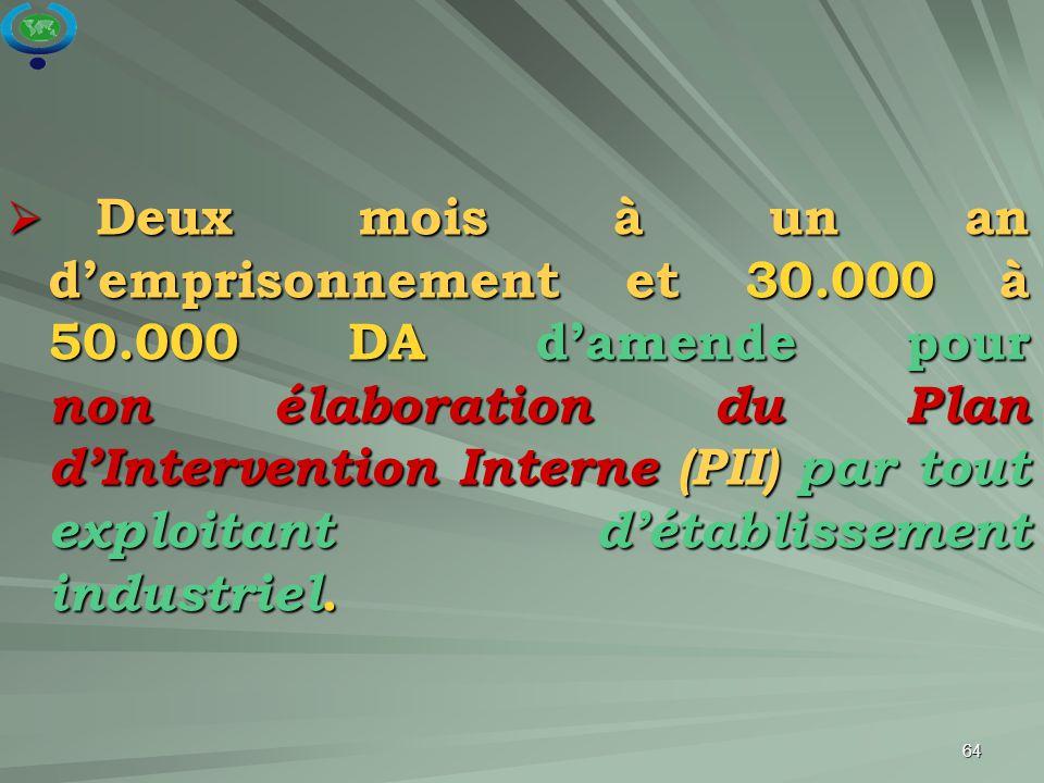 64  Deux mois à un an d'emprisonnement et 30.000 à 50.000 DA d'amende pour non élaboration du Plan d'Intervention Interne (PII) par tout exploitant d