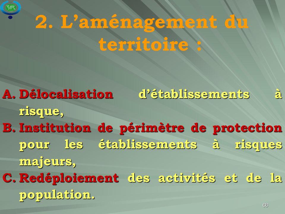 68 2. L'aménagement du territoire : A.Délocalisation d'établissements à risque, B.Institution de périmètre de protection pour les établissements à ris