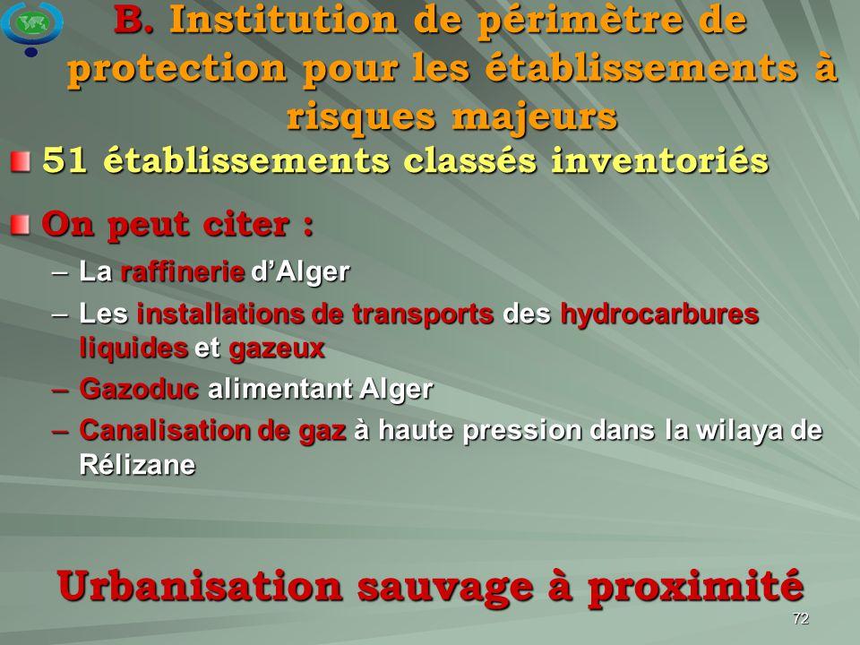 72 51 établissements classés inventoriés On peut citer : –La raffinerie d'Alger –Les installations de transports des hydrocarbures liquides et gazeux