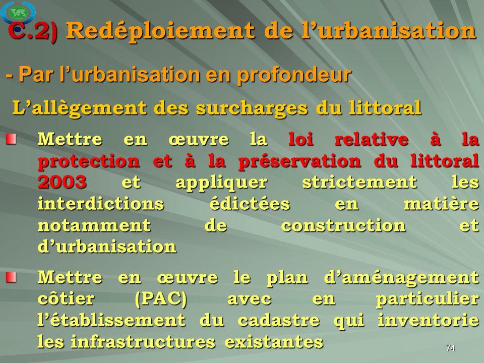 74 - Par l'urbanisation en profondeur L'allègement des surcharges du littoral L'allègement des surcharges du littoral Mettre en œuvre la loi relative