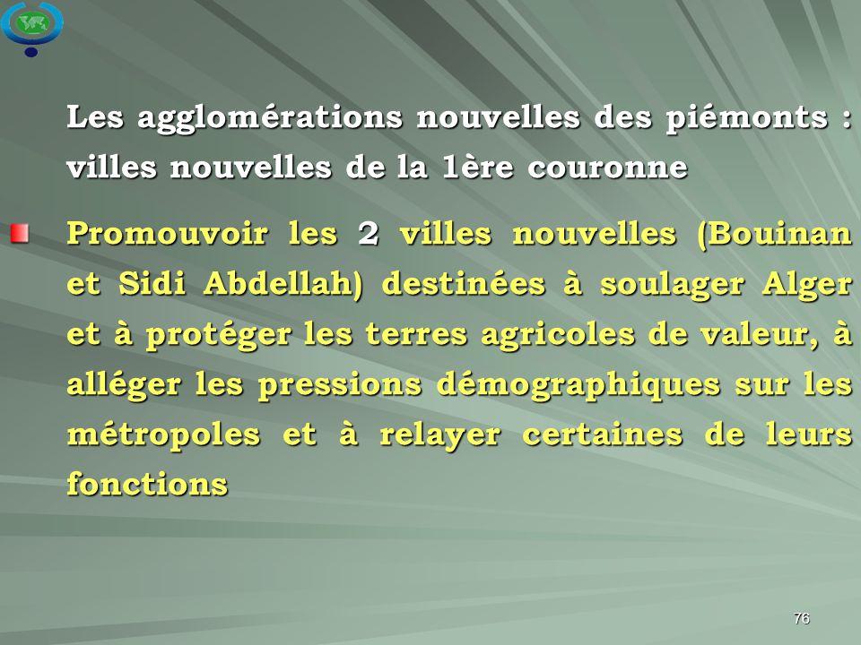76 Les agglomérations nouvelles des piémonts : villes nouvelles de la 1ère couronne Promouvoir les 2 villes nouvelles (Bouinan et Sidi Abdellah) desti