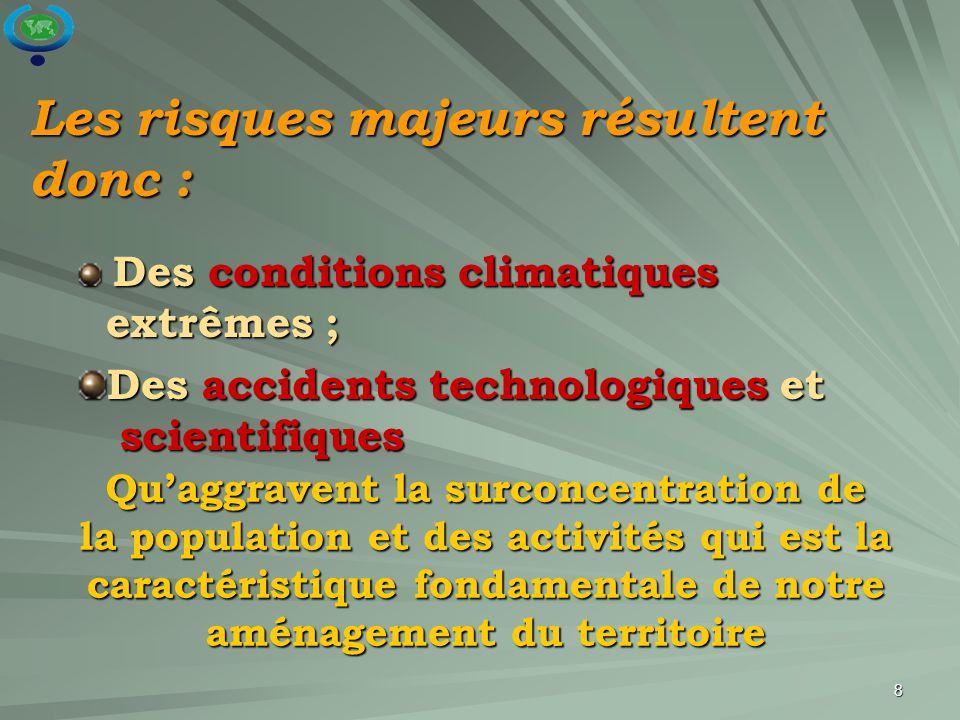 8 Les risques majeurs résultent donc : Des conditions climatiques extrêmes ; Des conditions climatiques extrêmes ; Des accidents technologiques et sci