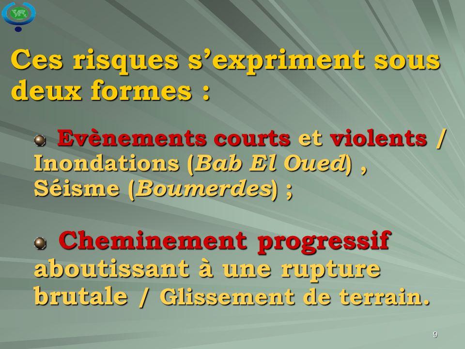 9 Ces risques s'expriment sous deux formes : Evènements courts et violents / Inondations ( Bab El Oued ), Séisme ( Boumerdes ) ; Evènements courts et
