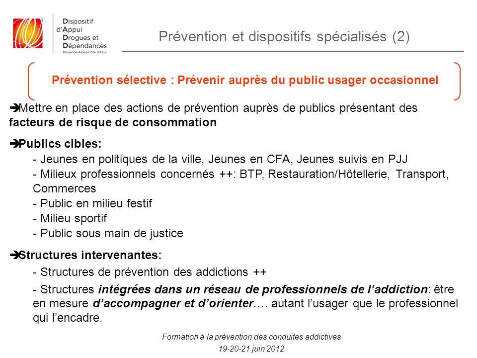 Prévention et dispositifs spécialisés (2) Formation à la prévention des conduites addictives 19-20-21 juin 2012 Prévention sélective : Prévenir auprès