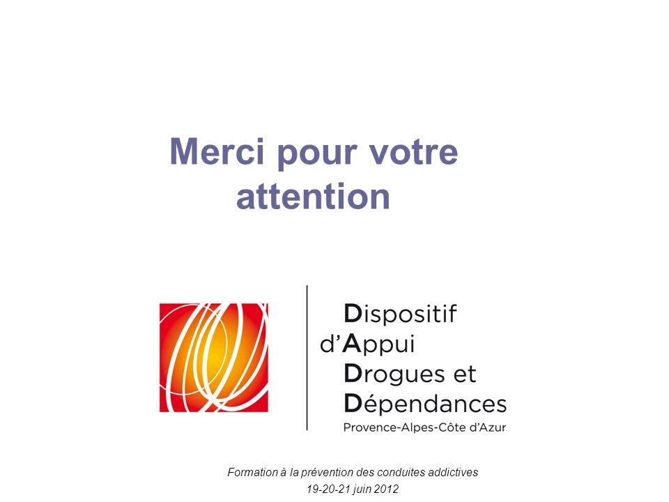 Formation à la prévention des conduites addictives 19-20-21 juin 2012 Merci pour votre attention