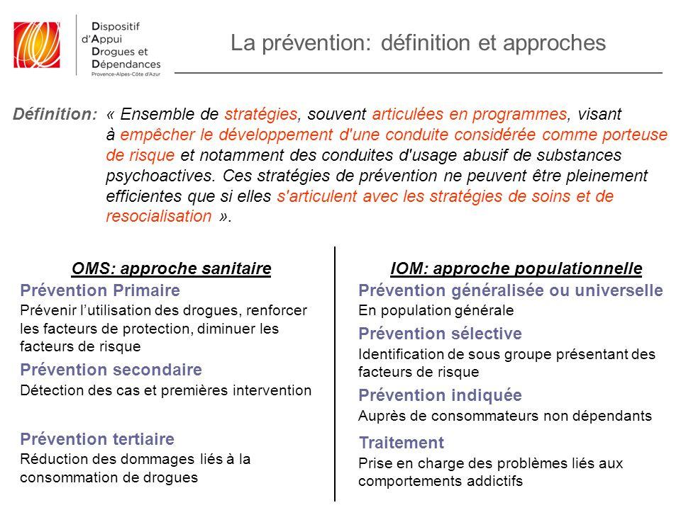 La prévention: définition et approches « Ensemble de stratégies, souvent articulées en programmes, visant à empêcher le développement d'une conduite c