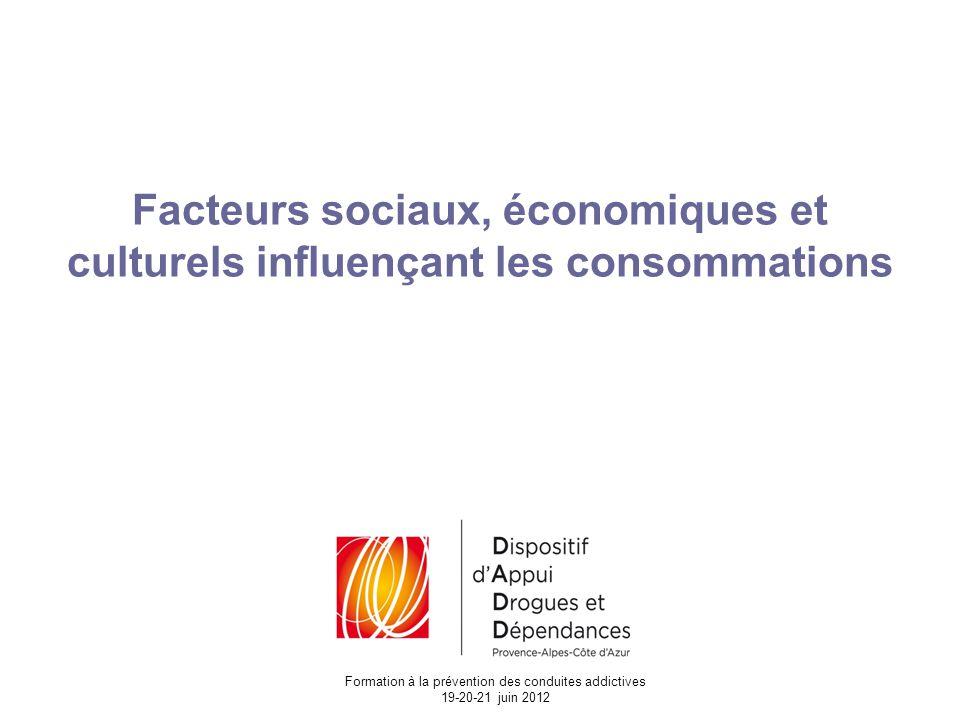 Facteurs sociaux, économiques et culturels influençant les consommations Formation à la prévention des conduites addictives 19-20-21 juin 2012