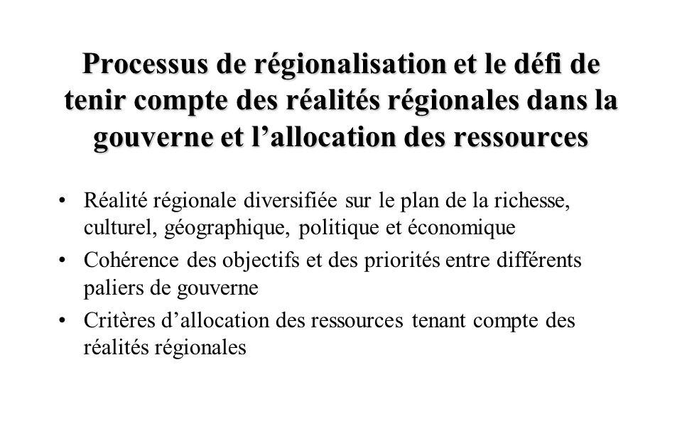 Processus de régionalisation et le défi de tenir compte des réalités régionales dans la gouverne et l'allocation des ressources Réalité régionale diversifiée sur le plan de la richesse, culturel, géographique, politique et économique Cohérence des objectifs et des priorités entre différents paliers de gouverne Critères d'allocation des ressources tenant compte des réalités régionales