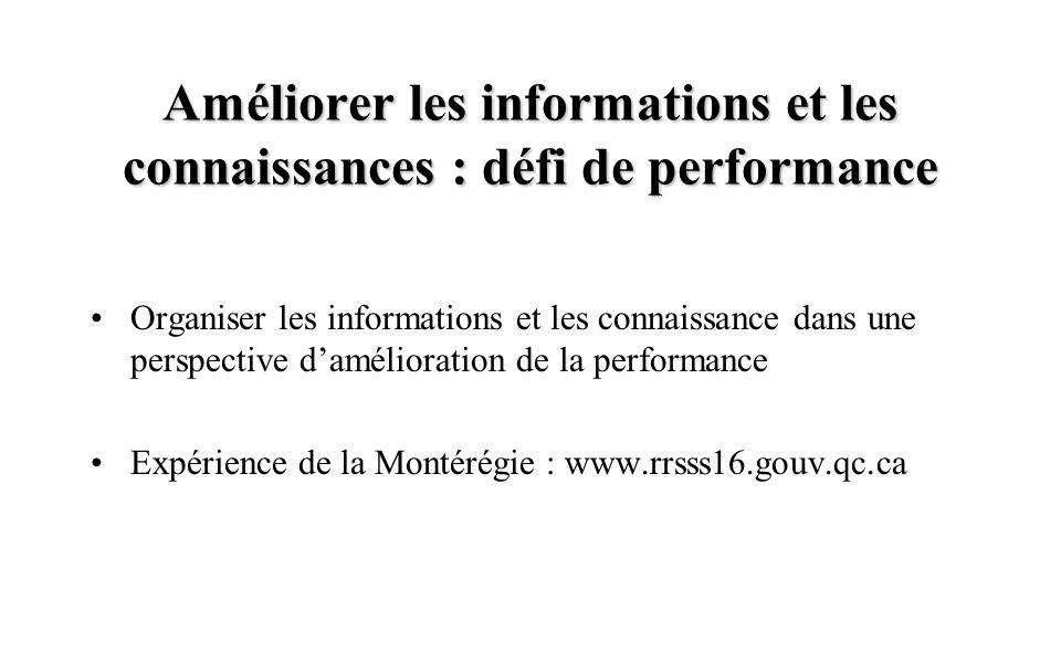 Améliorer les informations et les connaissances : défi de performance Organiser les informations et les connaissance dans une perspective d'amélioration de la performance Expérience de la Montérégie : www.rrsss16.gouv.qc.ca