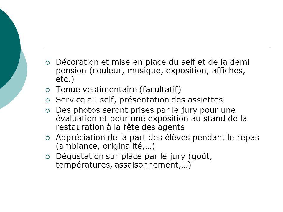  Décoration et mise en place du self et de la demi pension (couleur, musique, exposition, affiches, etc.)  Tenue vestimentaire (facultatif)  Servic