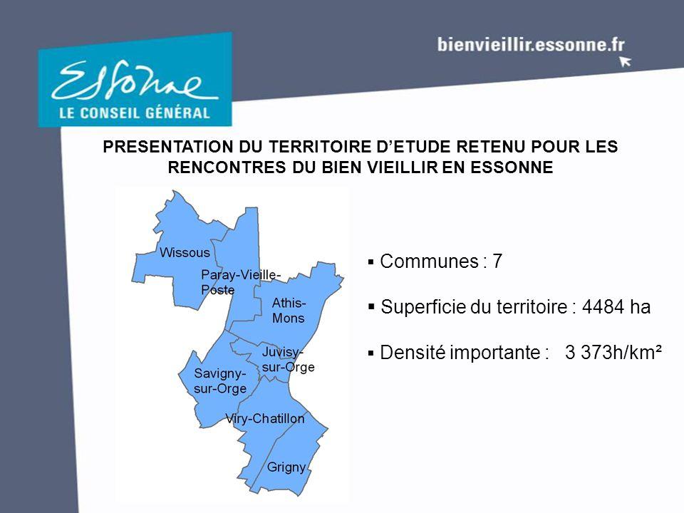 PRESENTATION DU TERRITOIRE D'ETUDE RETENU POUR LES RENCONTRES DU BIEN VIEILLIR EN ESSONNE  Communes : 7  Superficie du territoire : 4484 ha  Densité importante : 3 373h/km²