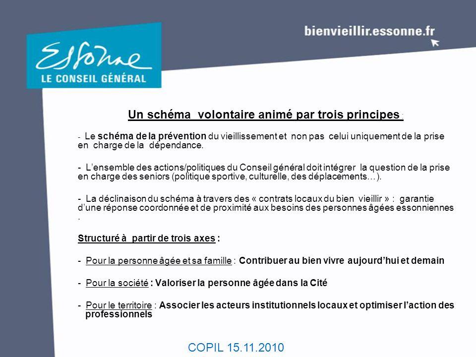 COPIL 15.11.2010 Un schéma volontaire animé par trois principes : - Le schéma de la prévention du vieillissement et non pas celui uniquement de la pri