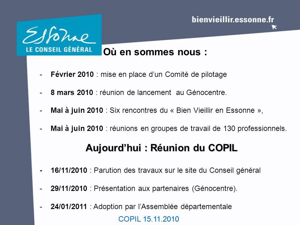 COPIL 15.11.2010 Où en sommes nous : - Février 2010 : mise en place d'un Comité de pilotage - 8 mars 2010 : réunion de lancement au Génocentre. - Mai