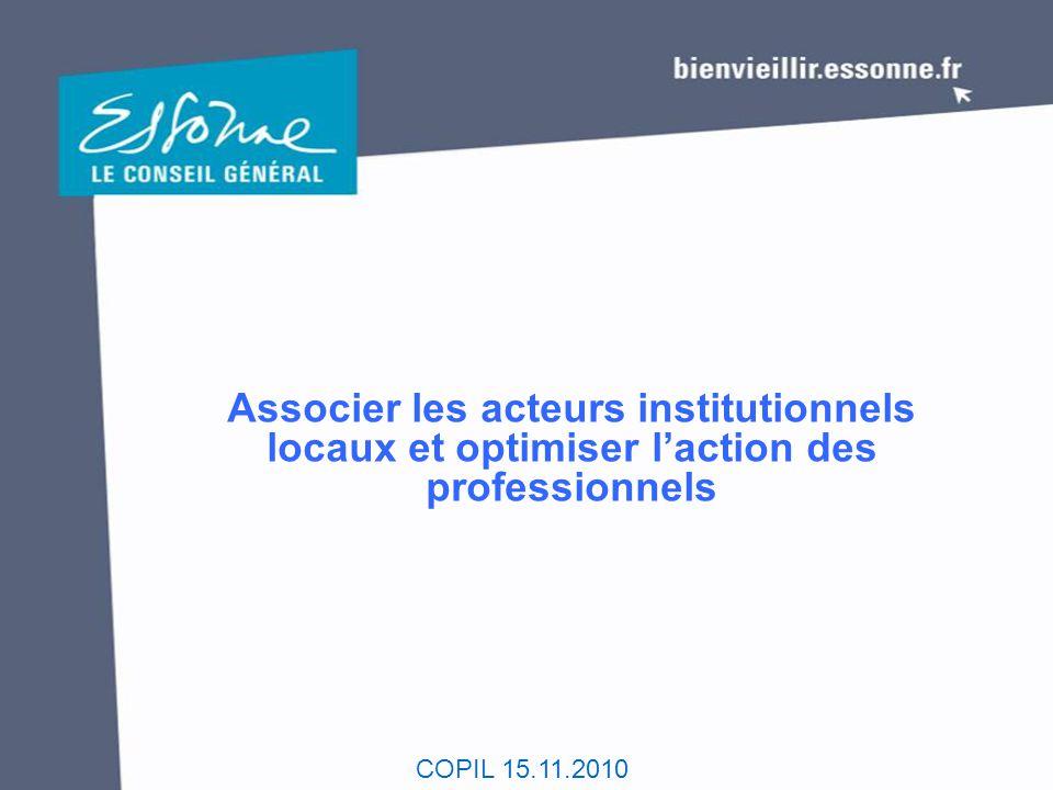 COPIL 15.11.2010 Associer les acteurs institutionnels locaux et optimiser l'action des professionnels